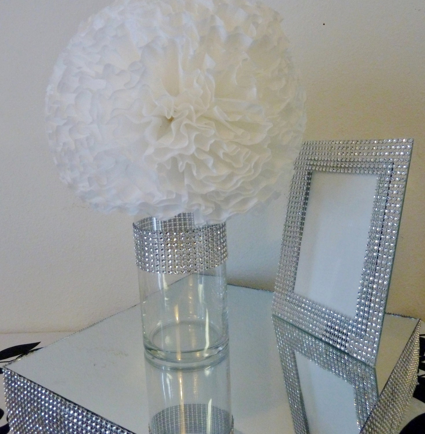 3 bling silver faux rhinestone cylinder by for Bling decor