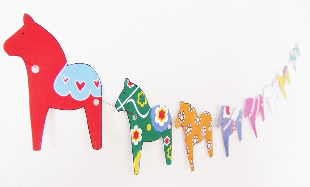 DIY Dala Horse Garland Rainy Day Printable PDF Project