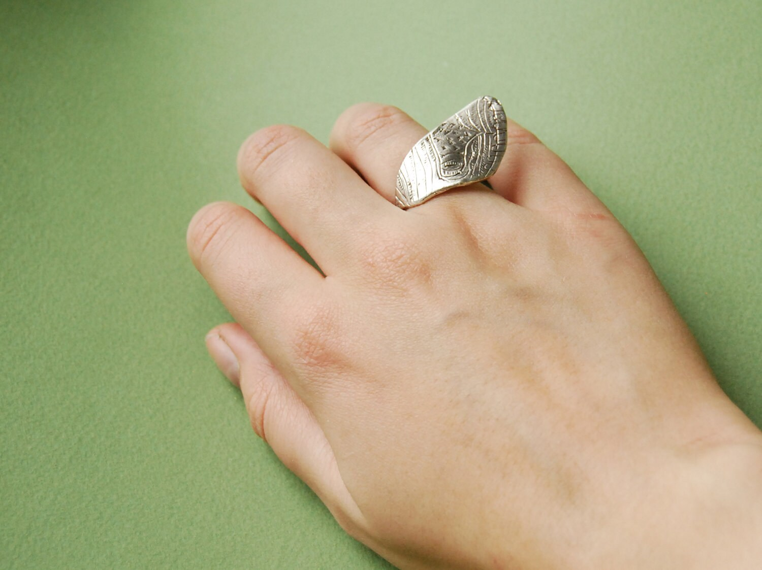 Sterling silver moth wing ring