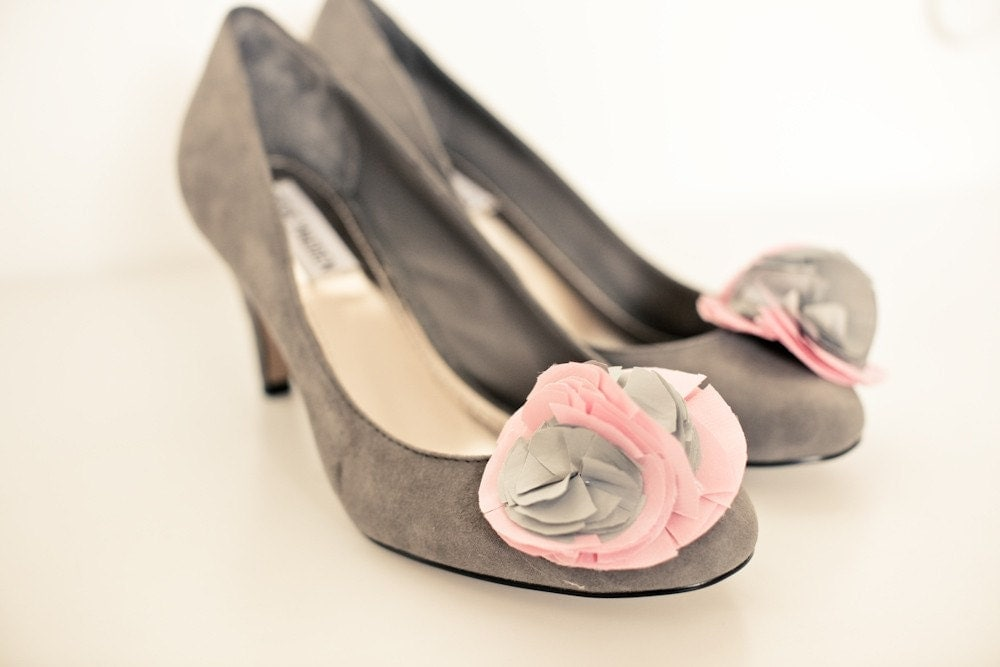 Peony and Nickel Shoe Clips
