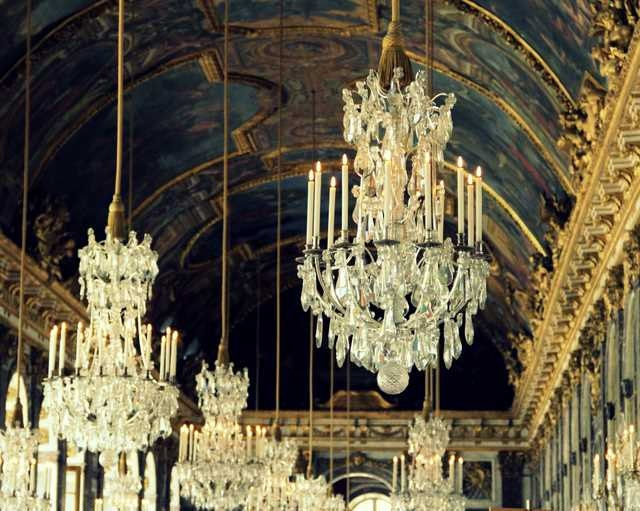 Chandeliers In Hall of Mirrors Versailles, France - 16x20 Print - The Paris Collection - Fine Art Travel Photography
