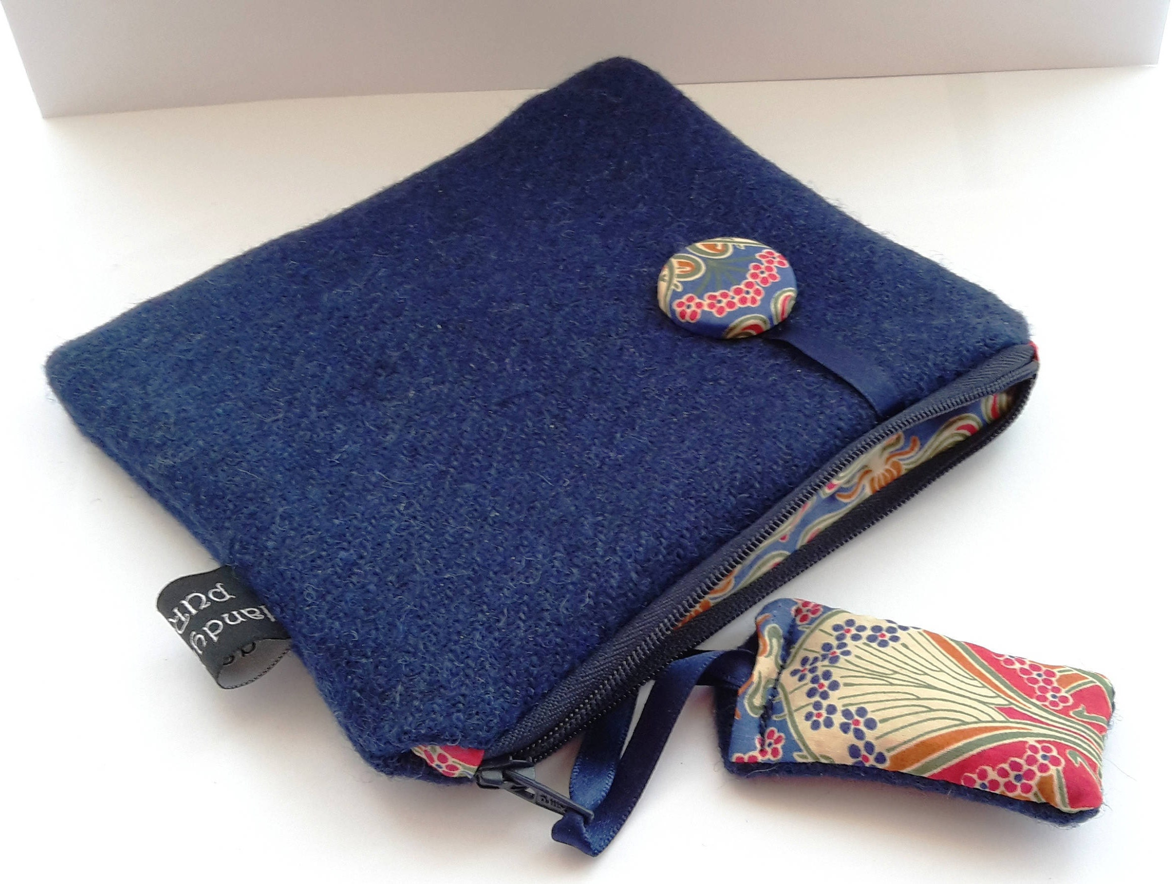Harris Tweed Denim Blue Purse with Liberty of London Ianthe Print Lining