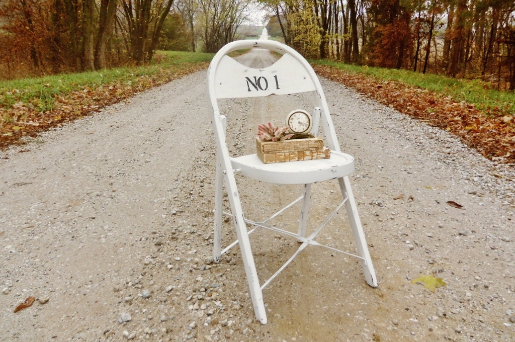 White Wooden Folding Chair - White with Number No. 1 Typography - Other Lettering Available