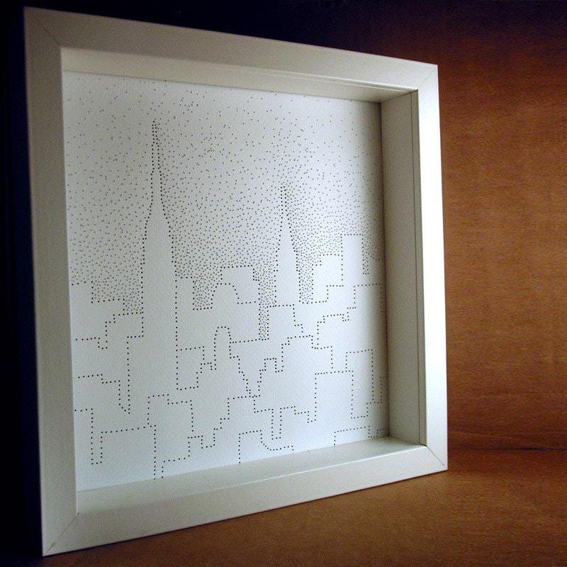 Art - New York City in Snow - handmade, 9x9, white, with frame