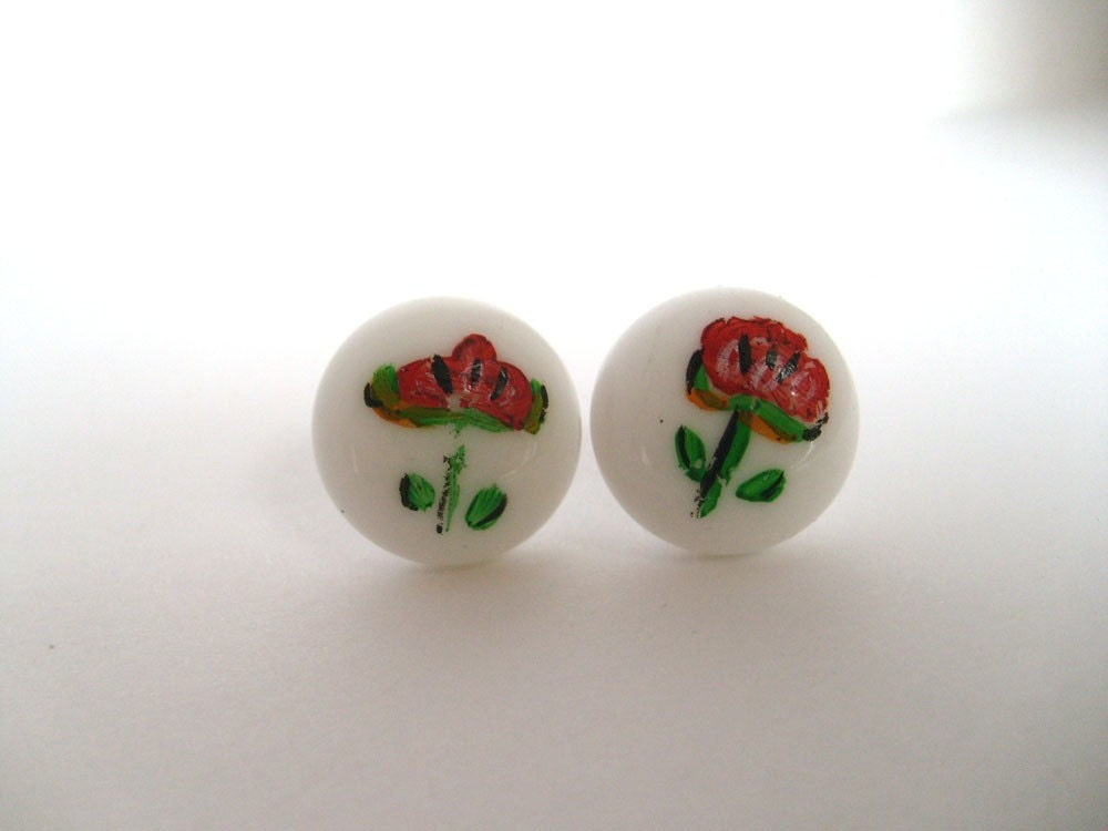 Ceramic Flower Hand Painted Post Earrings