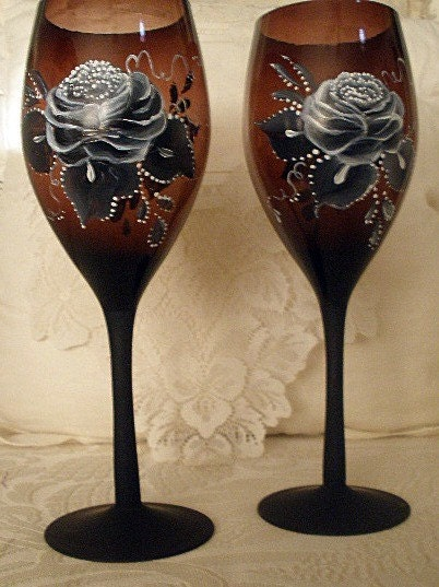 Hand Painted Wine Glasses and Black Roses