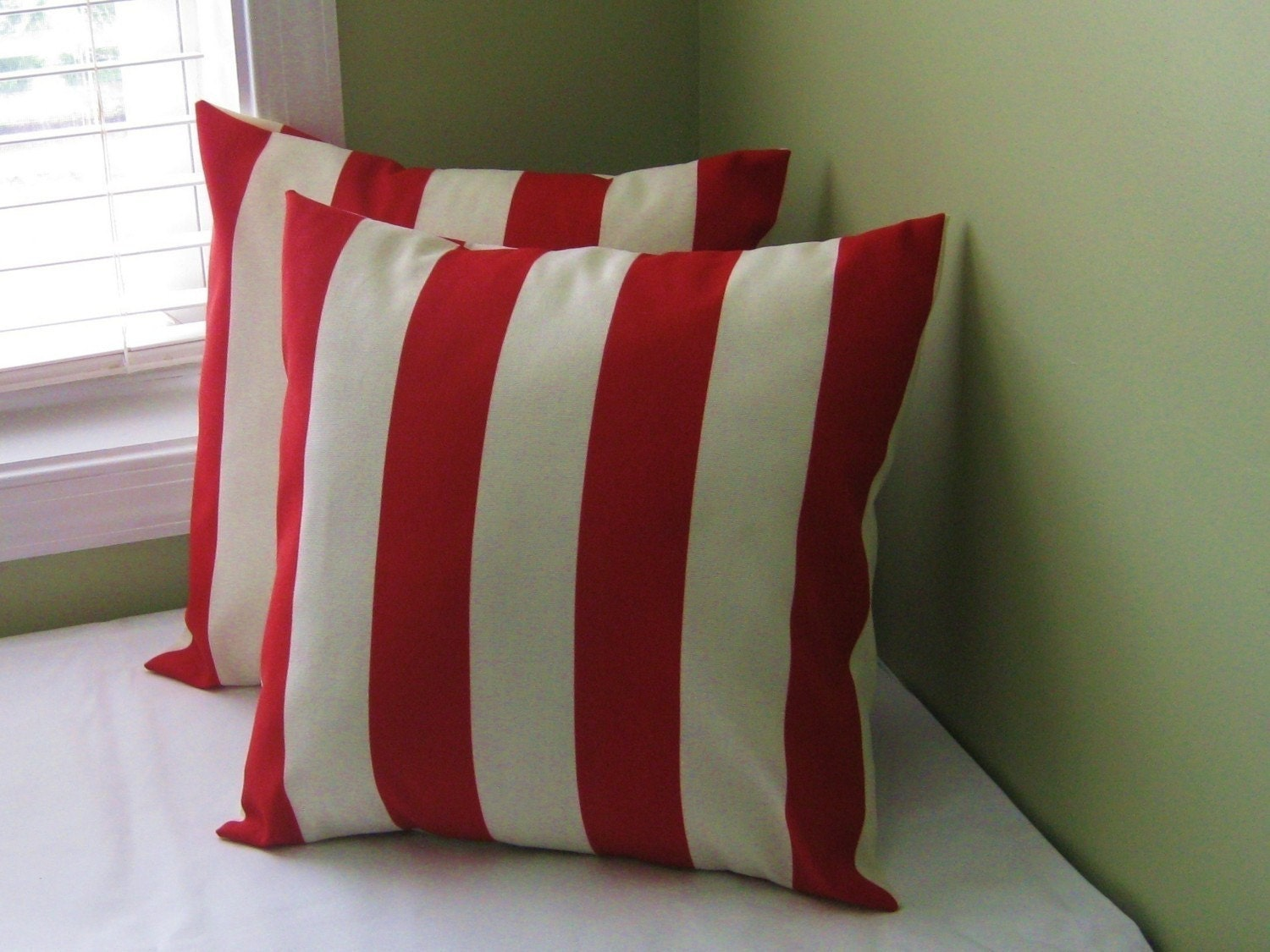 Red Awning Stripe Pillow Covers 14x14 Set of 2