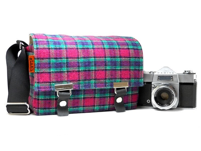 Small DSLR camera bag - purple and green vintage wool