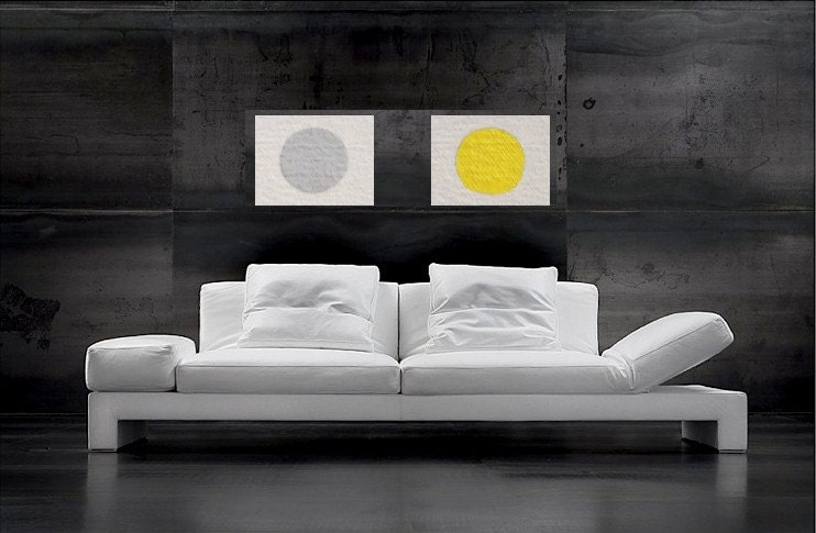 SALE Two Abstract Paintings 18 x 22 Optical Illusion Pop Art - Mid Century Modern by Will Wieber