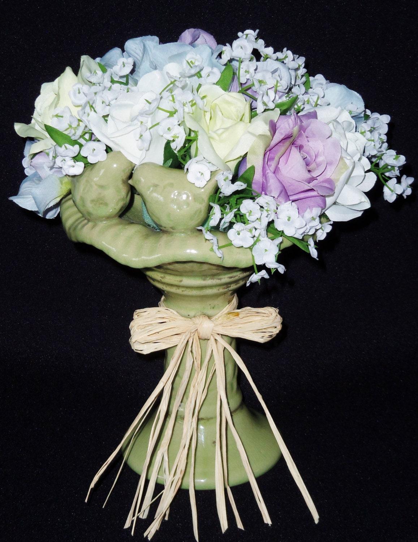 Silk Flower Arrangement Lavender White Green By