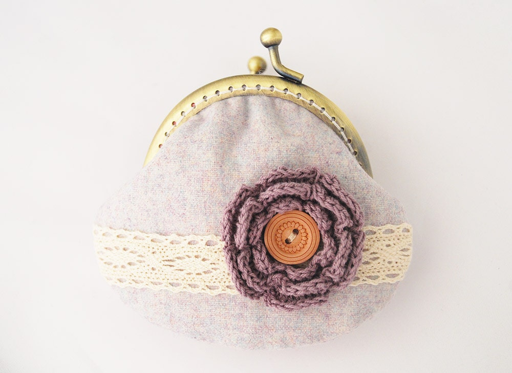 Lace and Crochet Flower Coin Purse Pastel purple - lazydoll