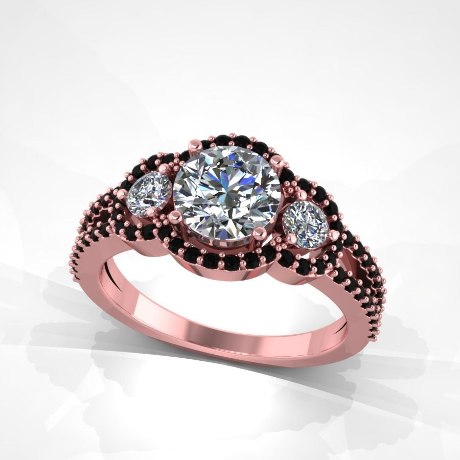 rose gold ring  black diamond rose gold ring etsy
