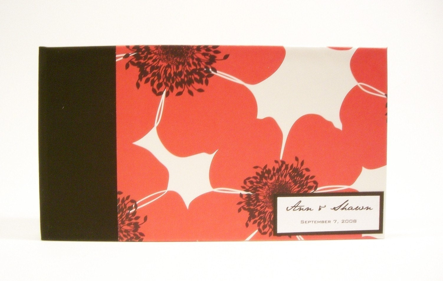 Custom Made Guestbook / Album- Crimson Poppy print
