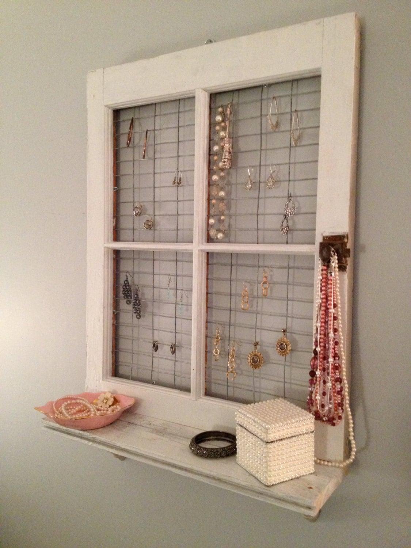 Vintage Window Frame And Shelf Wall Decor By