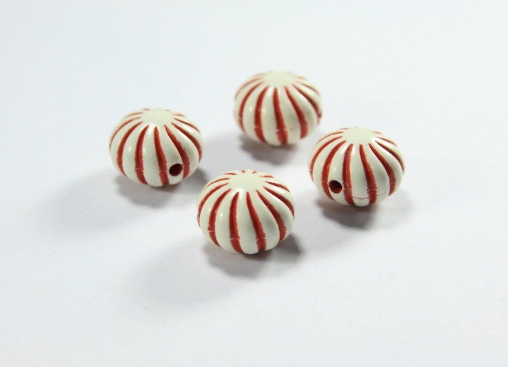 RESERVED for Kate - 6 Piece Acrylic Peppermint Style Red and White Beads - Beads, Jewelry Supplies - P004 - ParsonsMoon