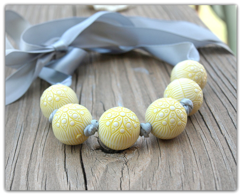 Yellow and Grey Ribbon and Beaded Necklace - LoveDesignsBoutique