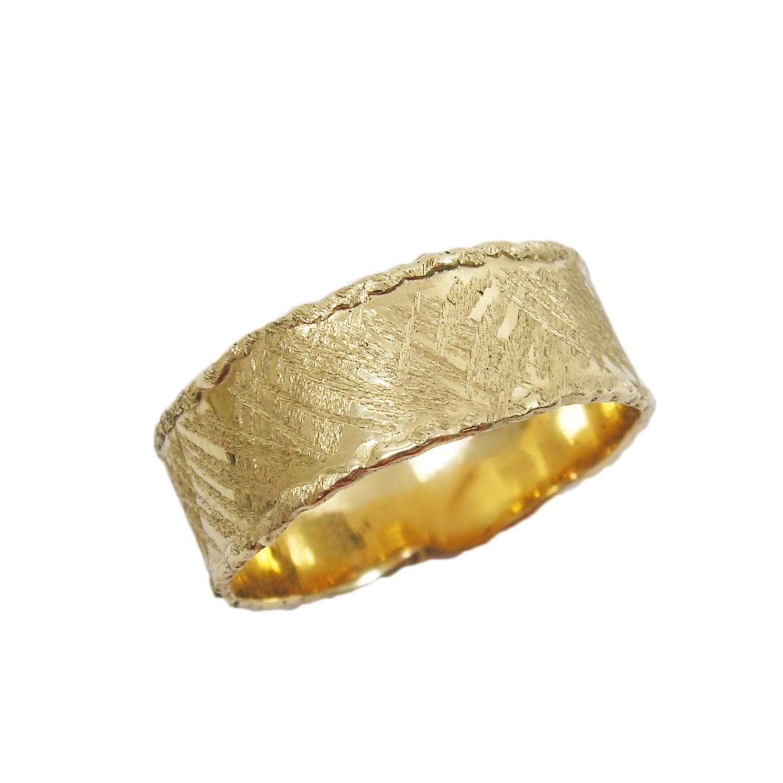 14k gold scratched wavy wedding band wide wedding band