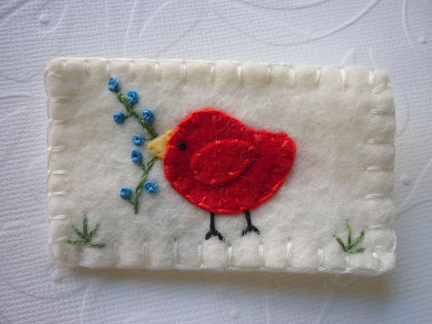 Wool Felt Red Bird Flower Pin Brooch - Penny Rug Perfect for the 4TH