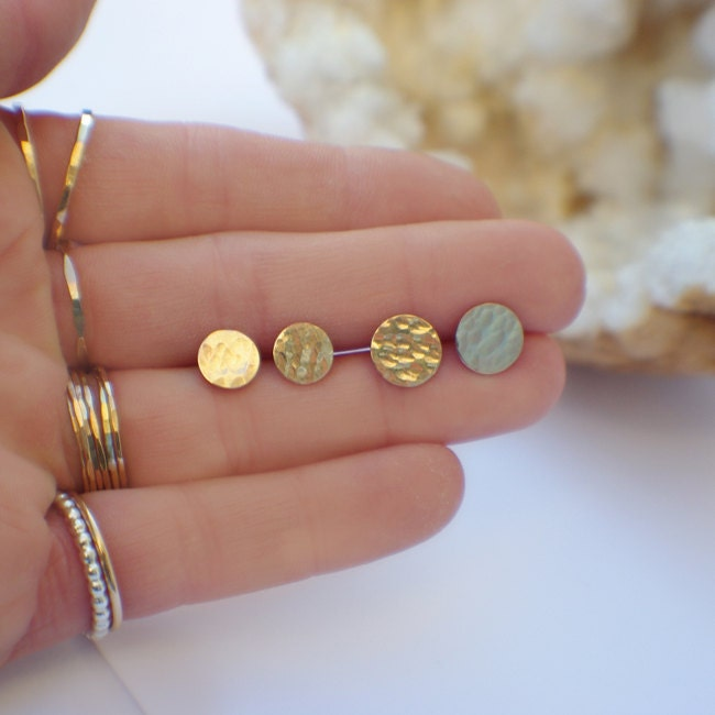 Circle Stud Earrings Hammered K Gold Discs Sterling Silver Posts