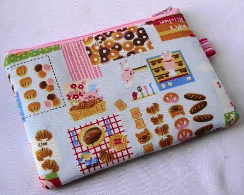 Cutie Piggies Bakery Zippered Pouch  Blue by WolfBait on Etsy