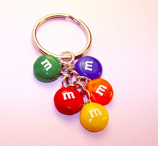Rainbow M&M Candy Key Chain