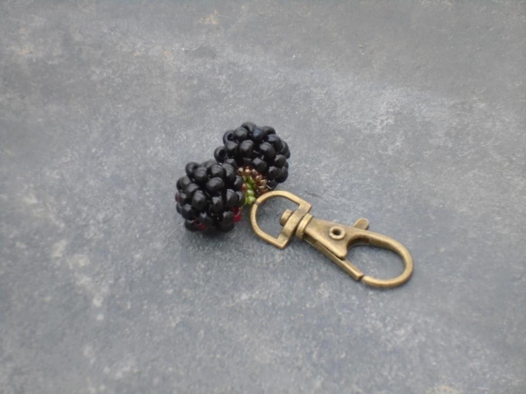Blackberries Keyring blackberry keyring in black and ruby Czech seed beads UK seller