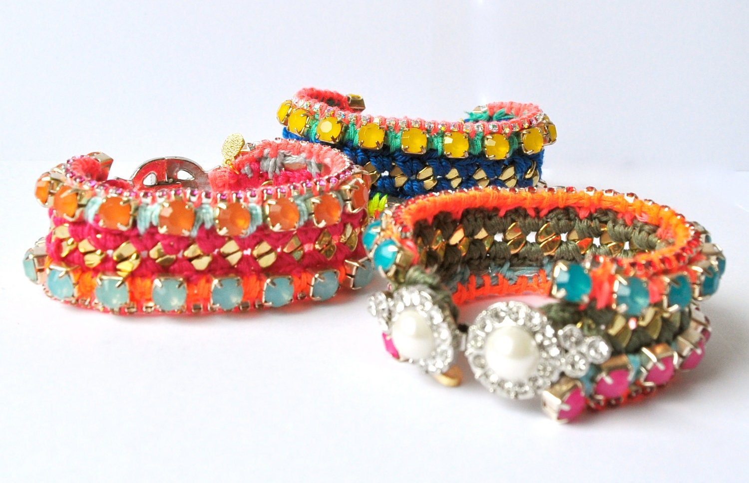 Friendship bracelet, neon multicolor red violet pink orange, knitted thread work, chrystal rhinestones clasp