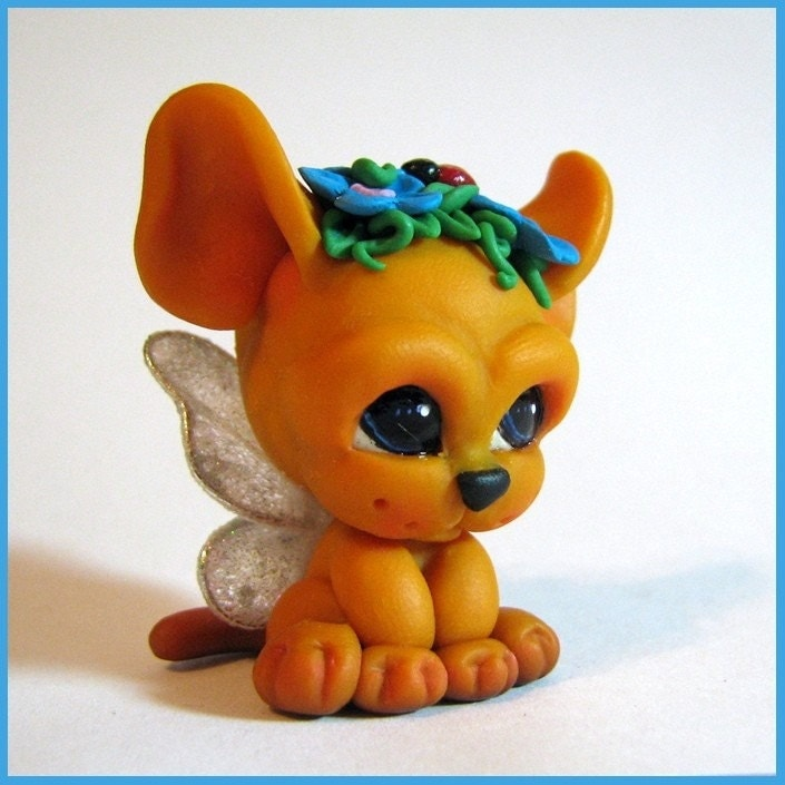Chibi Kitten                                                     Cat with Wings                                                     Critter Chibitude                                                     Figurine Polymer                                                     Clay Hand Made OOAK