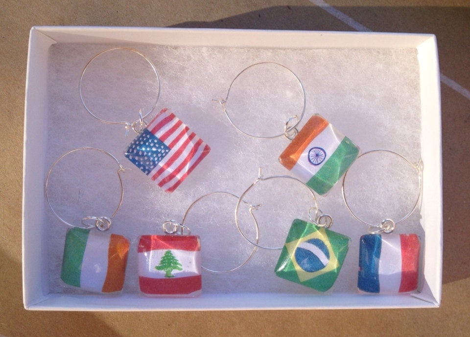 Glass Tile Wine Charms - World Flags