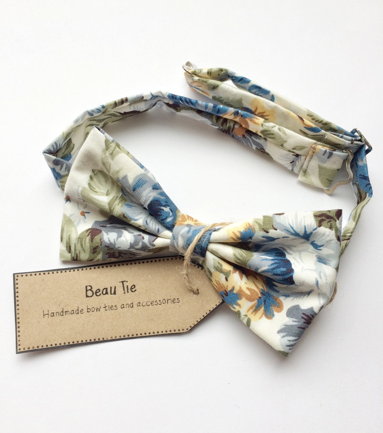 Mens blue bow tie floral mens bow tie yellow bow tie cotton bow tie