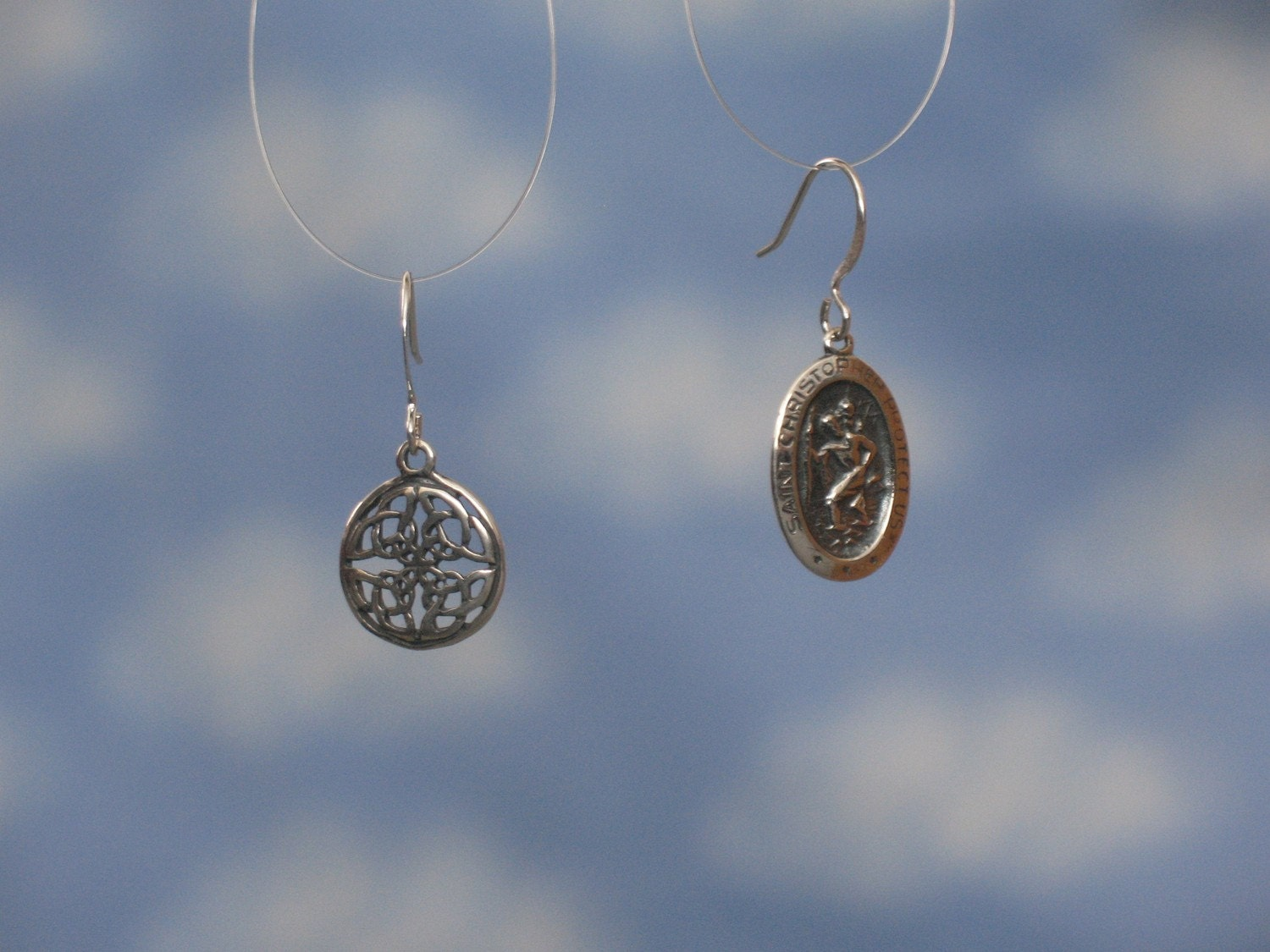 Celtic knot and St. Christopher medal