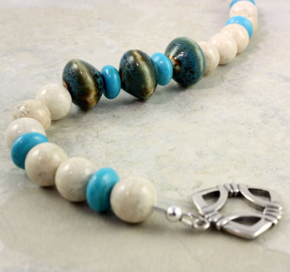 Porcelain Bead  Chalk Turquoise Bracelet by abacusbeadcreations