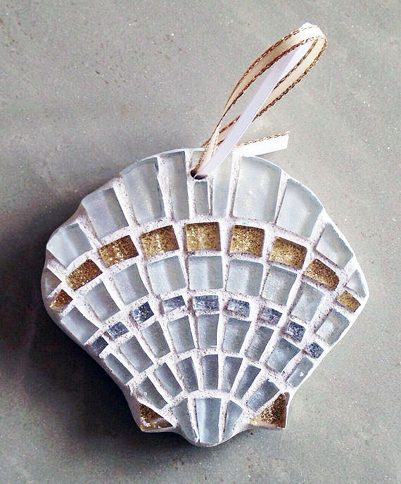 Sapphire blue scallop seashell ornament mosaic by for Seashell mosaic art