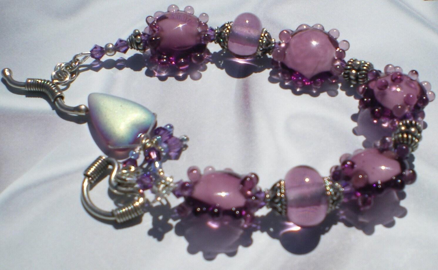 Twilight  Purple Lampwork and Bali Silver Bracelet
