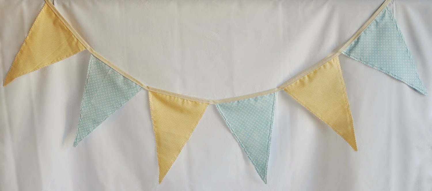 Whimsical Fabric Banner in Blue and Yellow Gingham