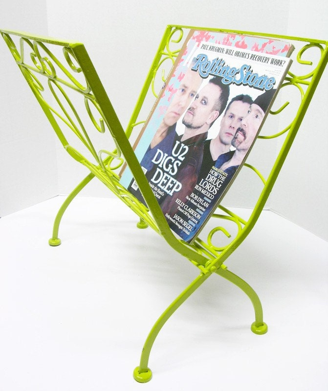 Vintage Metal Green Foldable Magazine Rack
