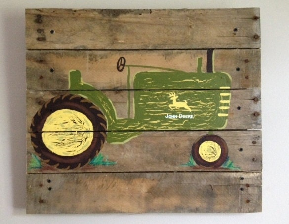 Rustic tractor wall decor : John deere tractor pallet artjohn by rustictreehouse