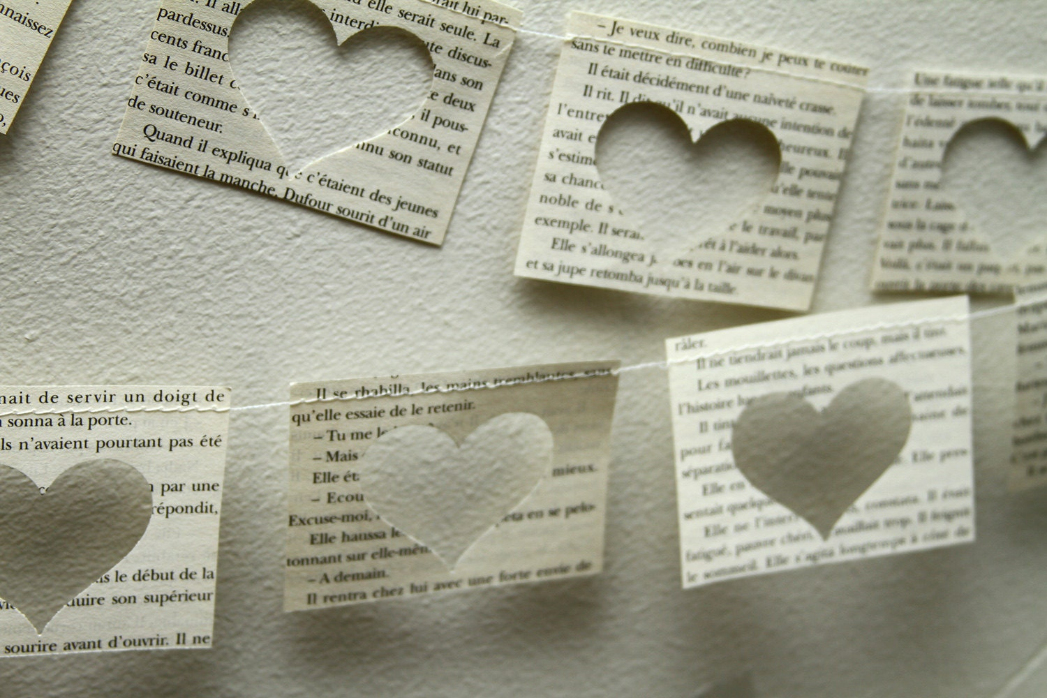 French novel paper heart garland, party, wedding, decoration
