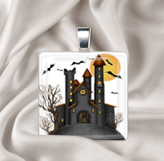 Haunted House Tile Pendant