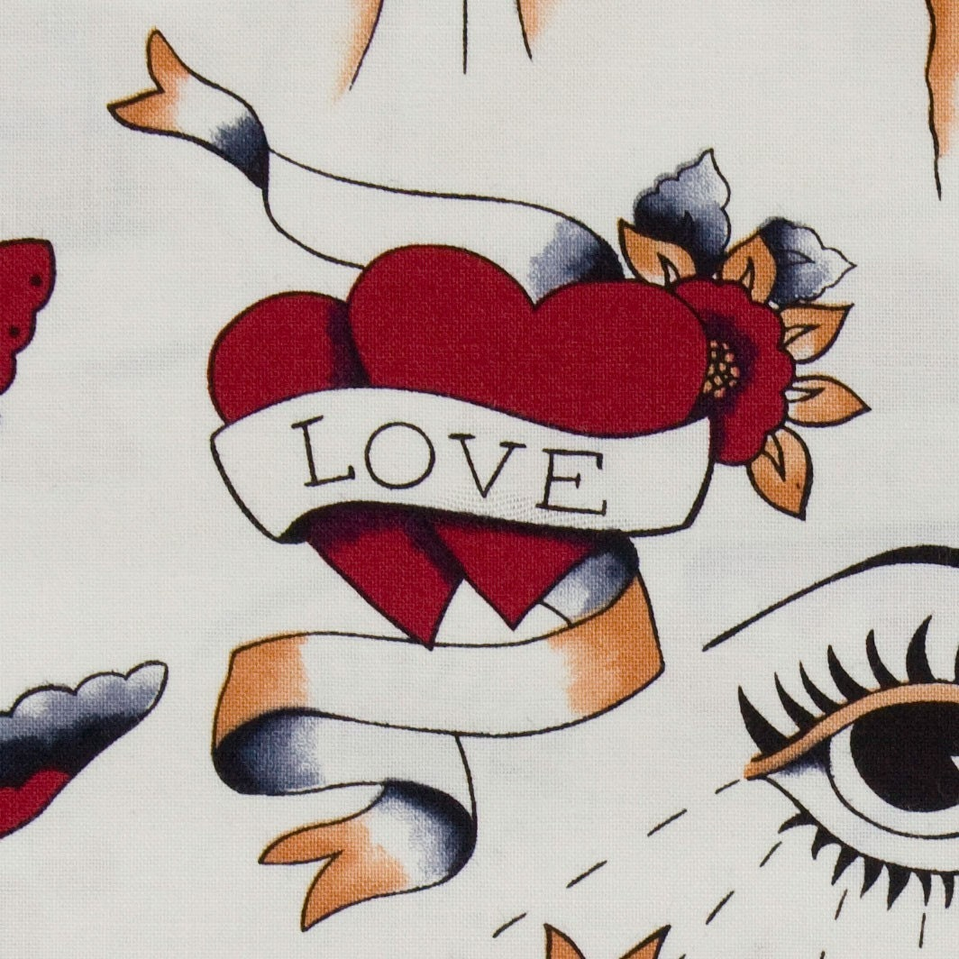 Fat Qtr x Red Love Tattoo Fabric Fabric by Michael Miller