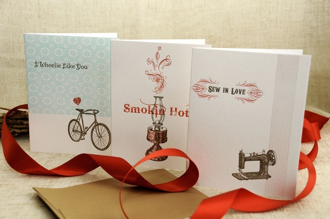 Set of 3 Letterpress Valentines