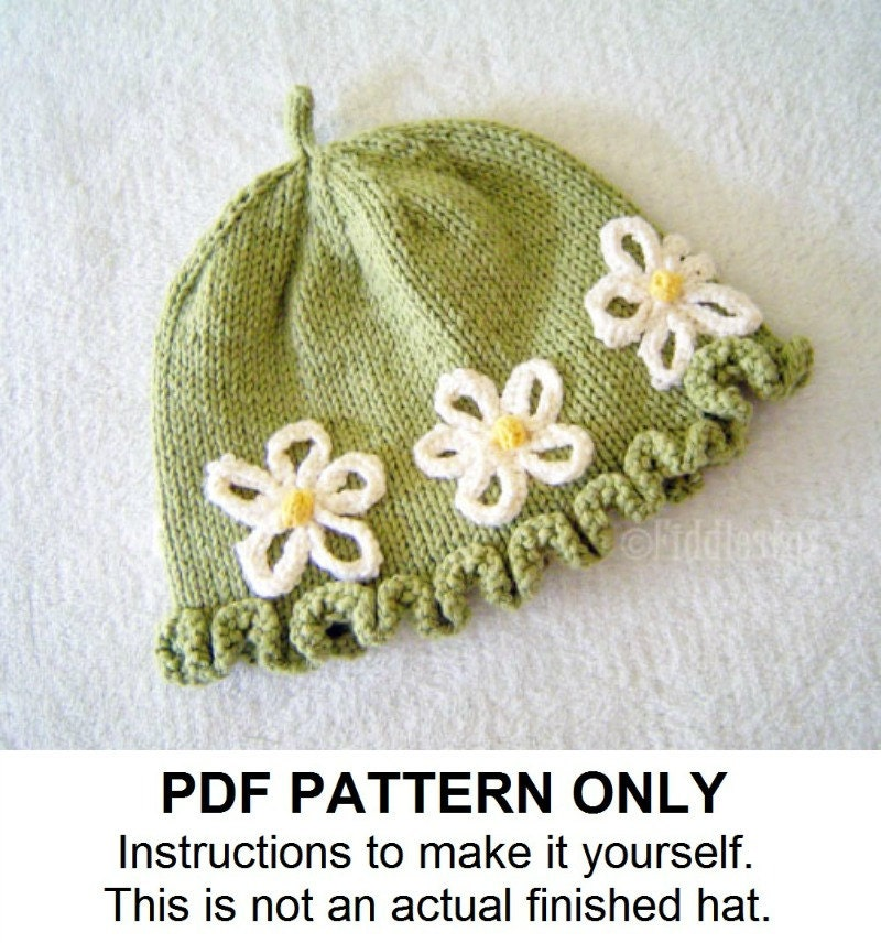 Knitted Hat Patterns For Girls : Knit Hat Knitting Pattern Girls Hat Pattern by FiddlestyxStudios