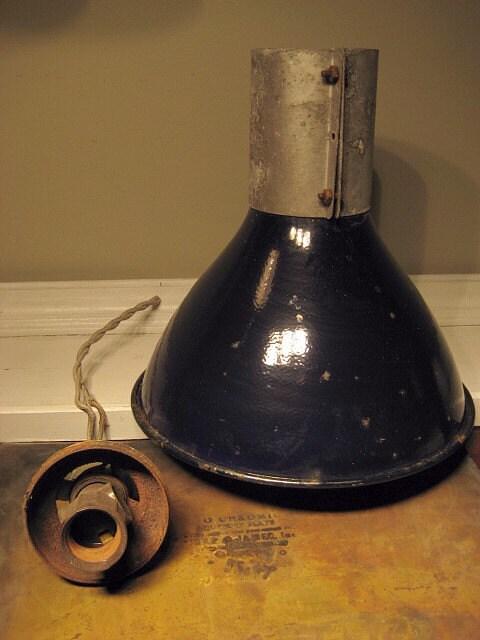 Vintage Rusty Porcelain Shop Light Shade