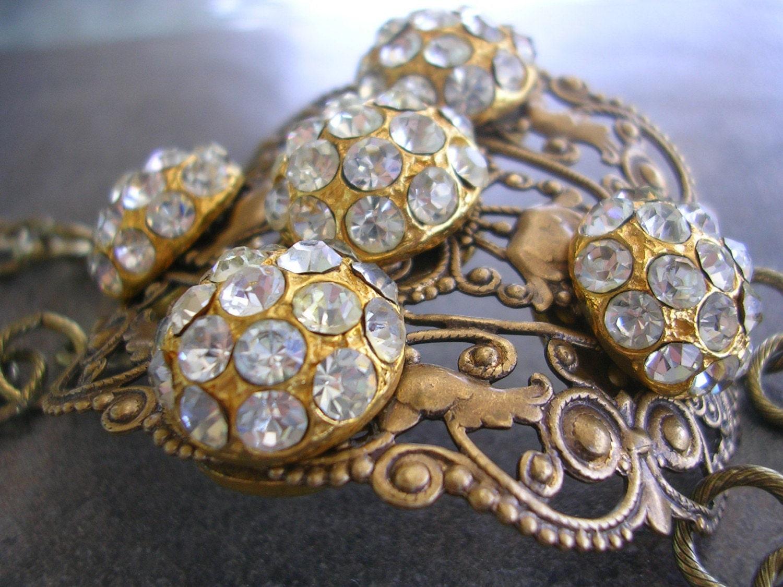Rhinestone and Filigree Wide Cuff Fashion Bracelet