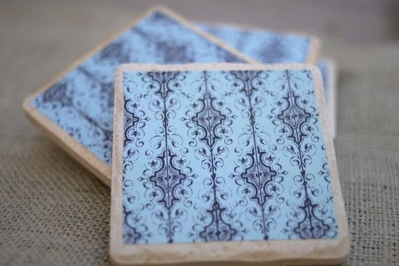 Modern and Chic Black and Light Turquoise Coaster Set