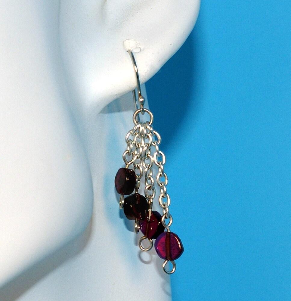 Garnet waterfall earrings by emmagraydesigns on etsy for Waterfall design etsy