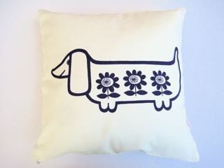 Scandinavian style screen printed sausage dog cushion cover