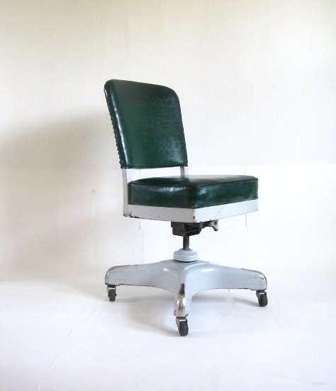 Vintage Harter Industrial Swivel Green Office Chair By