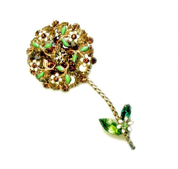... Gold w/ Enamel Rhinestones Mid Century Designer Weiss Jewelry 1950s