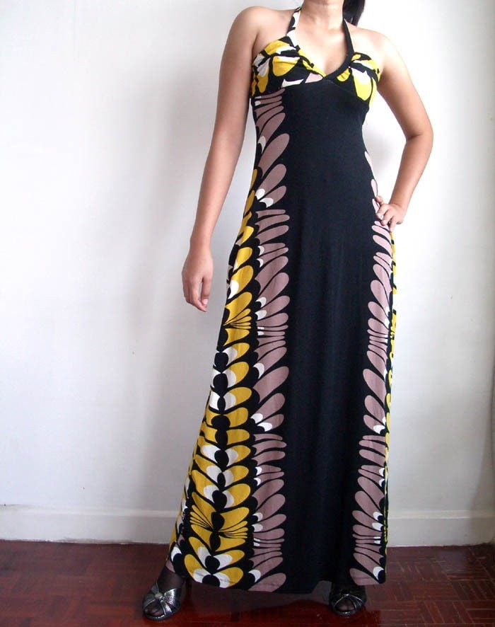 RETRO HALTER MAXI DRESS BLACK S/M